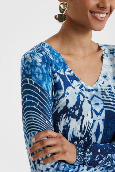 Feinmaschiger Pullover im Navy-Stil mit Tie-dye-Print | Desigual