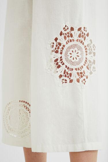 Calças culotte cropped bordados | Desigual