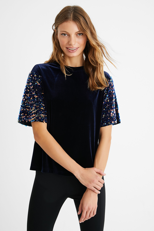 Maglietta vellutata paillettes | Desigual