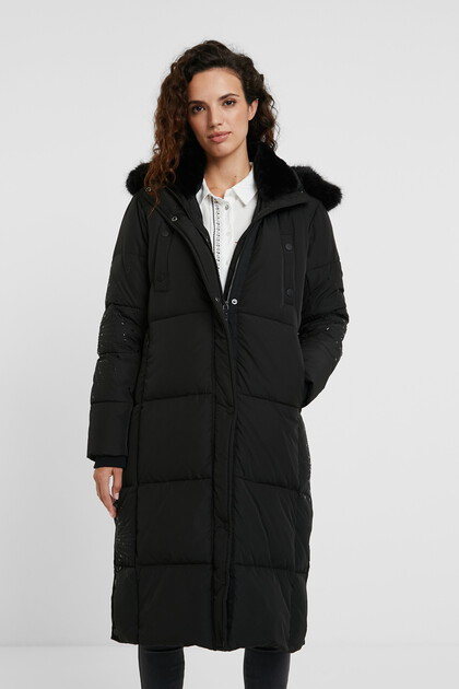 Long straight padded coat mandalas