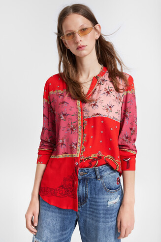 Floral patchwork shirt