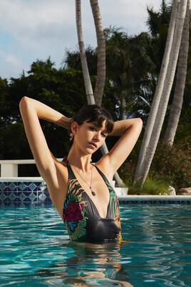 Tropical Halterneck Swimsuit Sandy