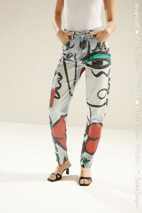 """Unisex straight jeans with """"El beso"""" print"""