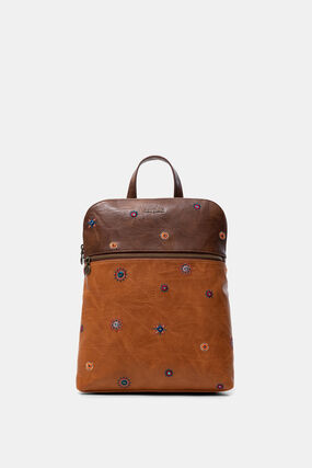 Bicolour leather backpack
