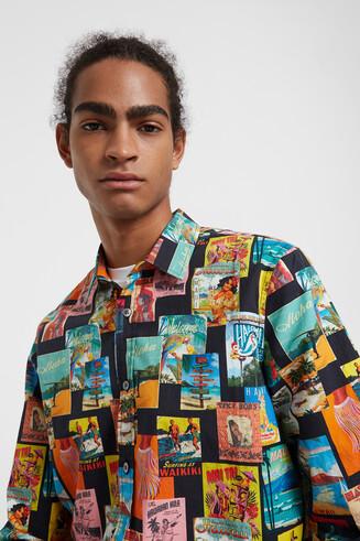 Shirt van popeline met lange mouwen en ansichtkaartenprint