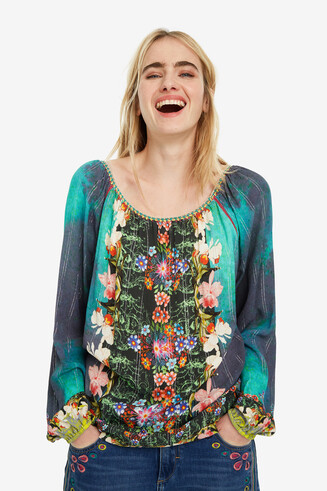 Aqua-Green Floral Blouse Kelly