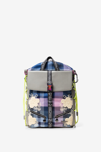 Square backpack with flowers and checks