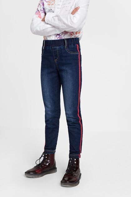 Skinny elastic denim trousers