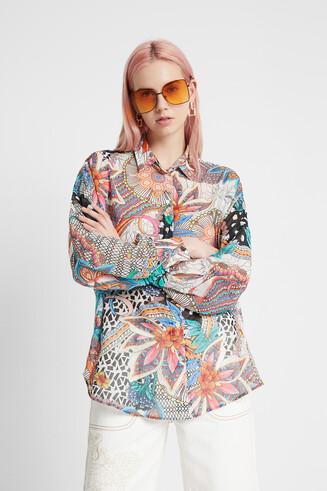 Blumige Boho-Bluse mit Puffärmeln