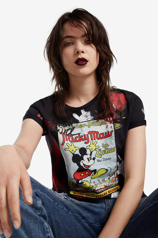 Geruit T-shirt met Mickey Mouse