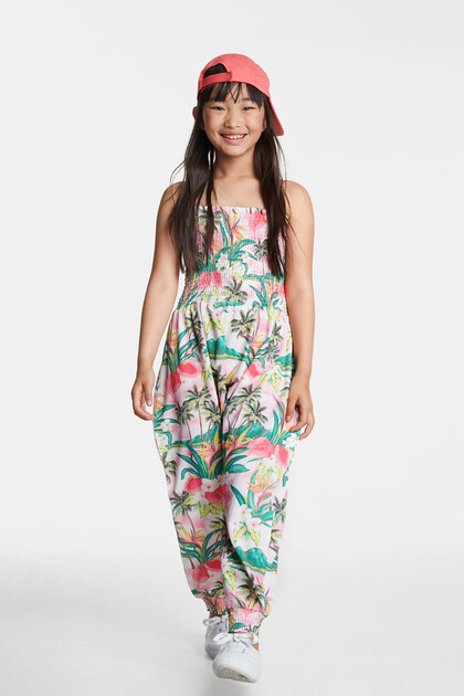 Long Hawaiian jumpsuit with straps