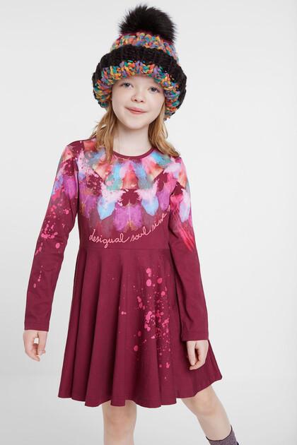 Watercolour print cotton dress