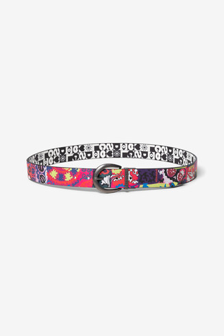 Reversible floral logomania belt