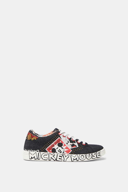 Denim sneakers met Mickey Mouse