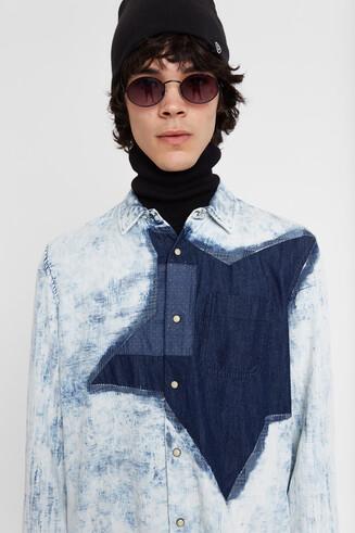 Camisa denim 100% algodão