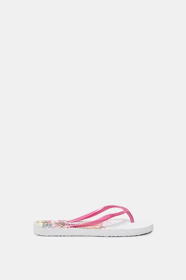 Fuchsia bathing flip-flops printed sole | Desigual