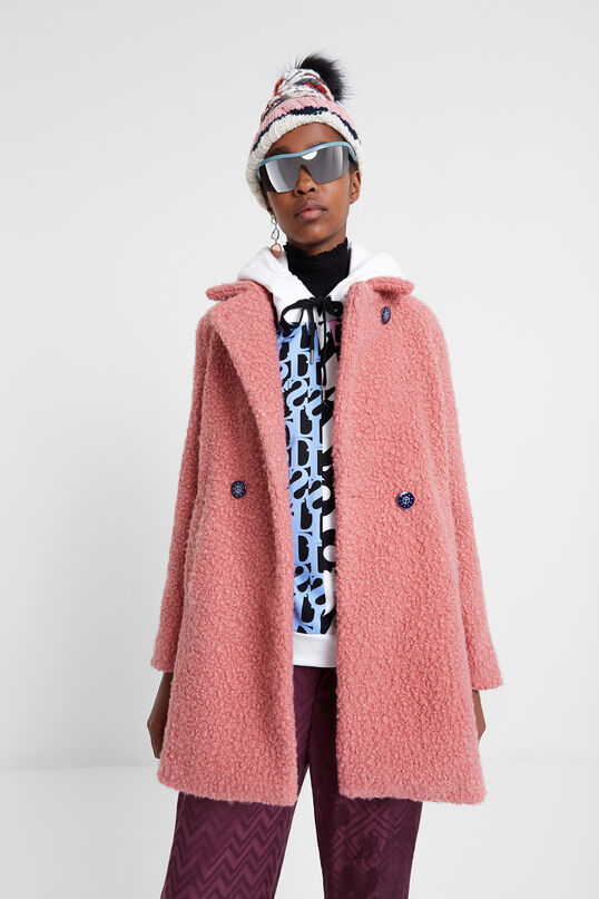 Double-breasted fleece coat | Desigual