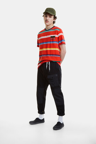 T-shirt pop jacquard stripes