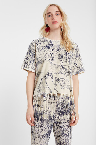Tweekleurig T-shirt met franjes