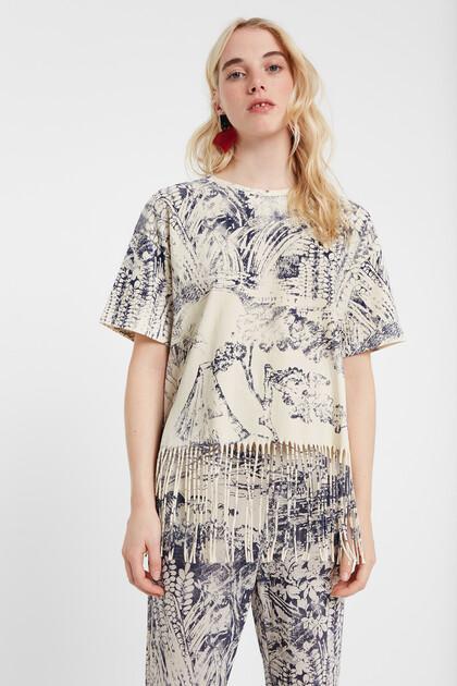 T-shirt bicolore franges