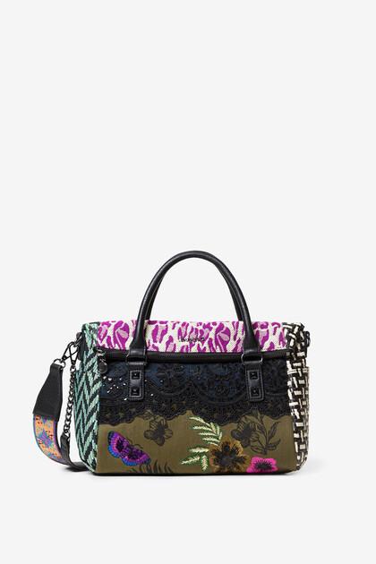 Patchworkowa torba z teksturowanych materiałów z klapą