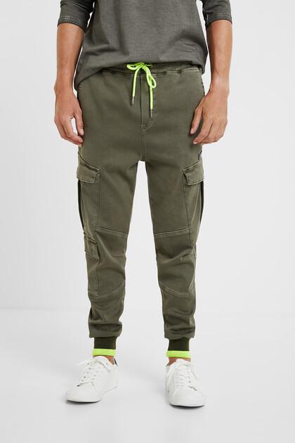 Pantalon cargo cordon fluo