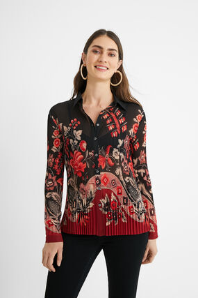 Pleated floral shirt
