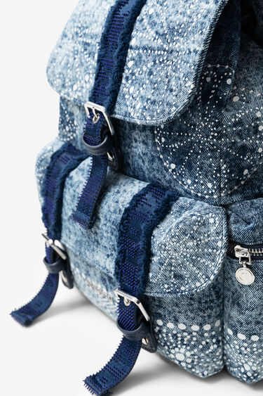 Denim backpack with galactic mandalas | Desigual