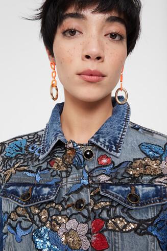Jean jacket floral print