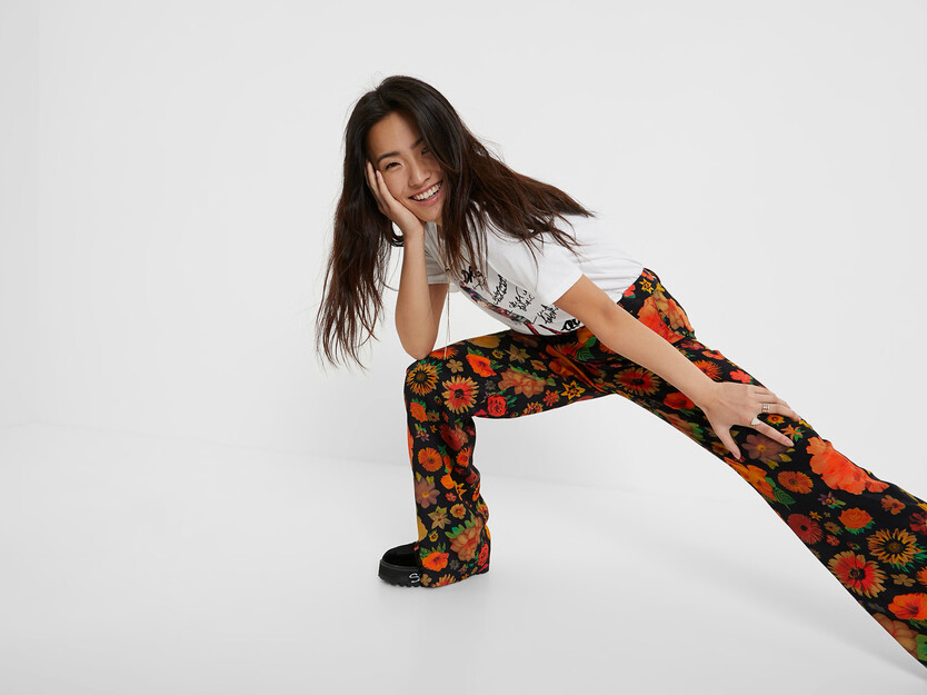 Flared floral trousers