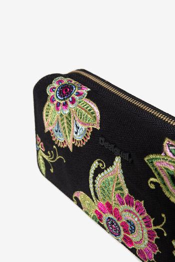 Rechthoekige portemonnee met geborduurde bloemen | Desigual