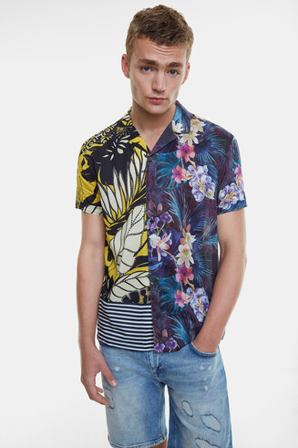 Half-orange Hawaii print shirt