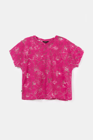 Floral T-shirt in devoré and transparencies | Desigual