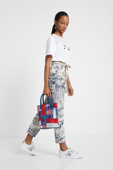 Mala 2 em 1 com patchwork de tecidos, bordados e letras | Desigual
