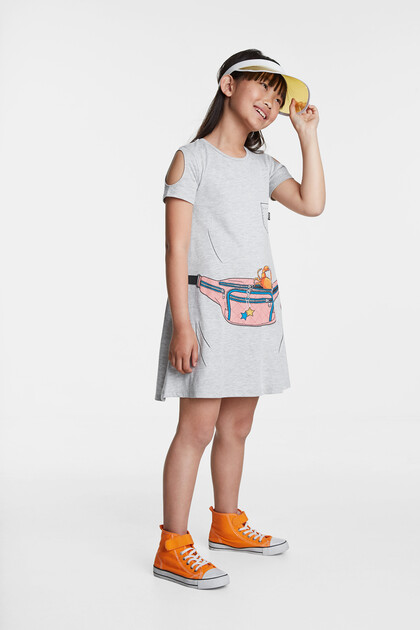 Trompe l'oeil dress with bum bag