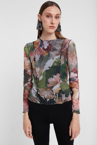 T-shirt fleuri bordures ondulées | Desigual