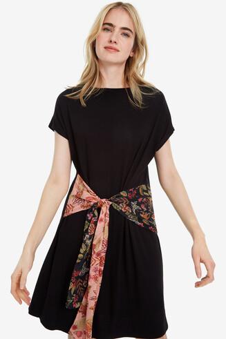 Black dress with asymmetric sash Onawa