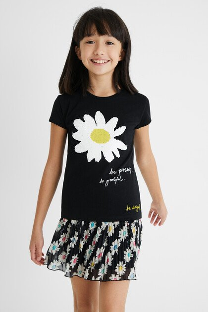 T-shirt daisy reversible sequins