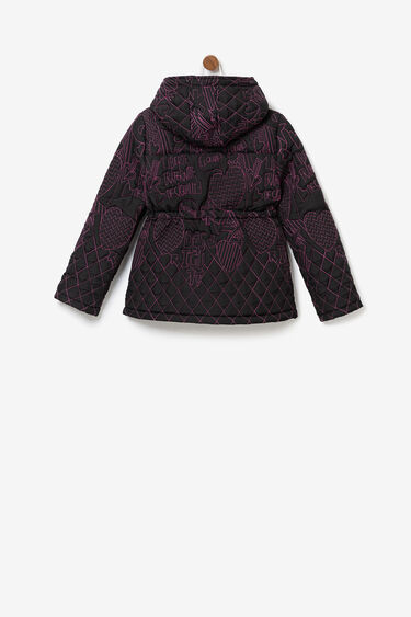 Short embroidered down hood | Desigual