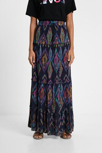 Długa spódnica eco z nadrukiem w geometryczny deseń