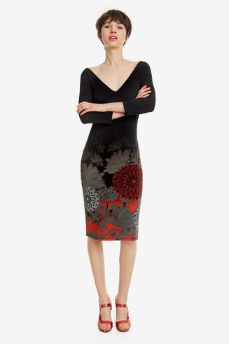 Black Double V-Neck Dress Florencia