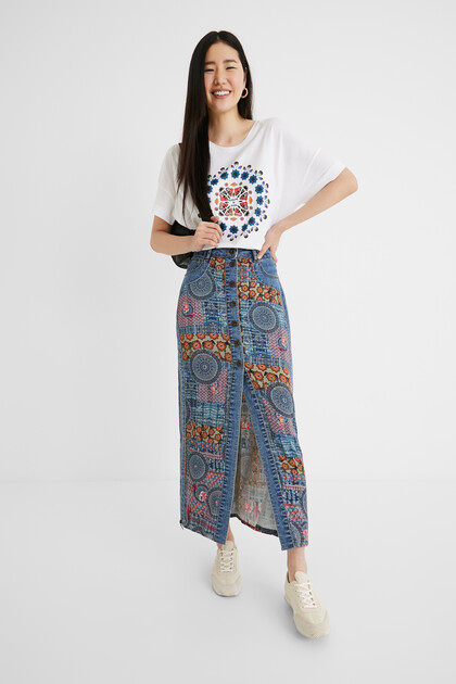 Long jean skirt mandalas