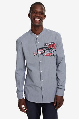 Mandarin collar embroidered shirt