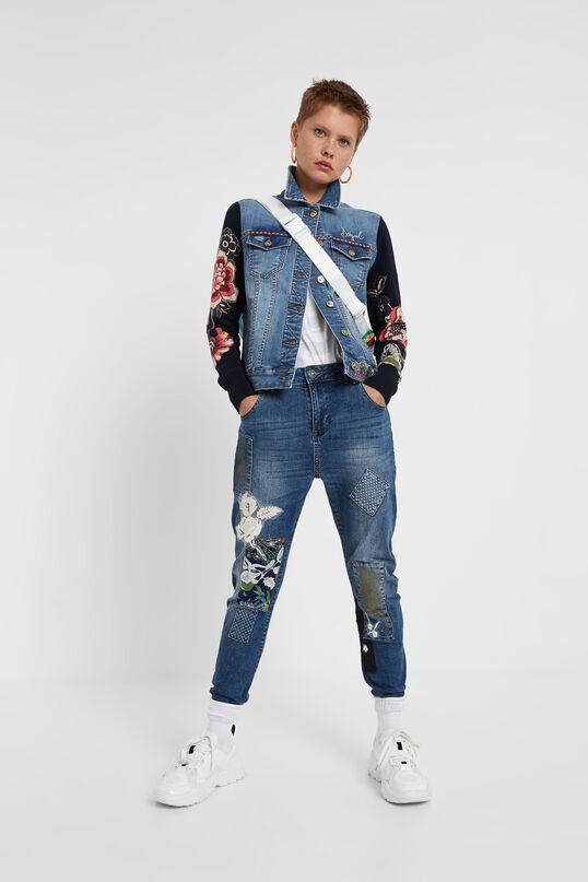 Denim jacket floral knit | Desigual
