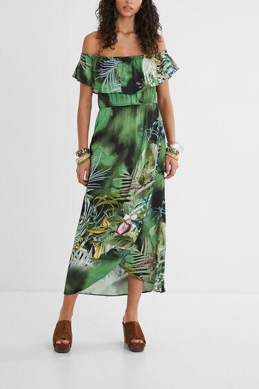 Langes Kleid Carmen-Ausschnitt   Desigual