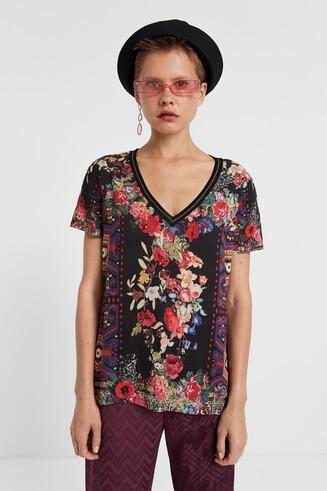 T-shirt col en V fleuri