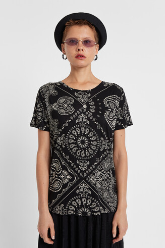 T-shirt Paisley Black & White