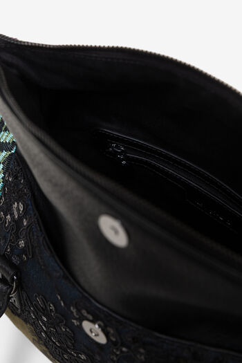 Bag with flap and patch fabrics and textures | Desigual