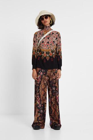 Pantalon fluide à paisley floral