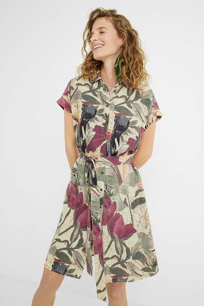 Short safari shirt dress
